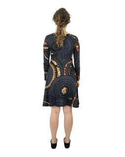 Šaty s dlhým rukávom, výstrih do V, tmavo šedé s oranžovou potlačou
