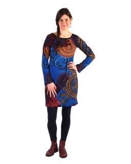 Šaty s dlhým rukávom, okrúhly výstrih, tmavo modré s farebnou potlačou