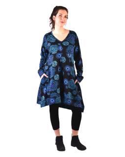 Šaty s dlhým rukávom, dve vrecká, čierne s modrou potlačou