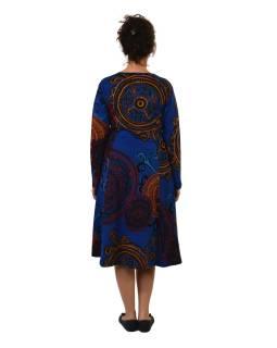 Šaty s dlhým rukávom, dve vrecká, tmavo modré s farebnou potlačou