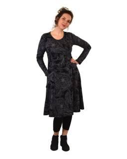 Šaty s dlhým rukávom, dve vrecká, čierne s šedým potlačou