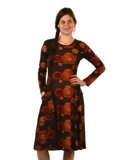 Šaty s dlhým rukávom, dve vrecká, hnedé s červeno-oranžovým potlačou