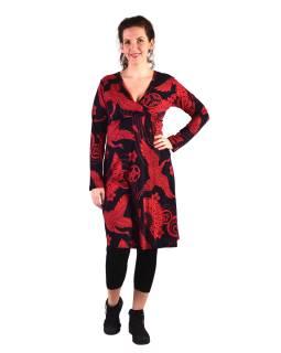 Šaty s dlhým rukávom, zavinovacie na prsiach, čierne s červeným označením