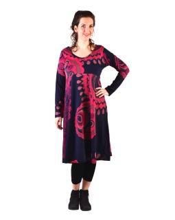 Šaty s dlhým rukávom, strihané pod prsiami, do A, tmavo modré s ružovou potlačou