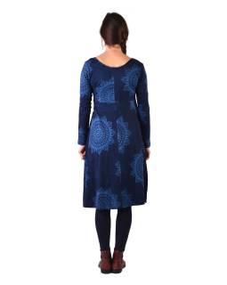 Šaty s dlhým rukávom, strihané pod prsiami, do A, tmavo modré s mandalami