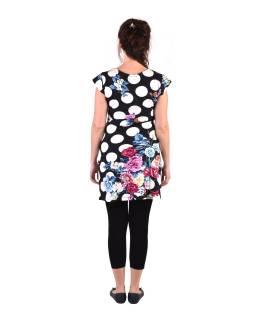 """Krátke čierne šaty s krátkym rukávom, s potlačou """"Dots & Flower"""""""