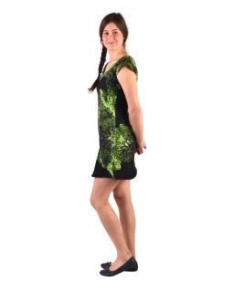 """Krátke čierne šaty s krátkym rukávom, s potlačou """"Mandala & Flower"""""""