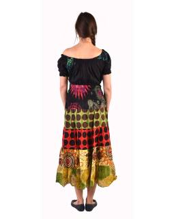 Dlhé šaty s potlačou, balónový rukáv, multifarebné