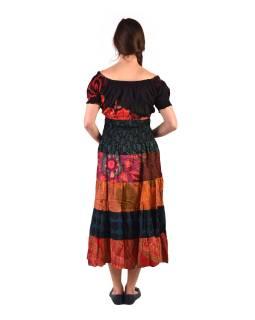 Dlhé šaty s potlačou, balónový rukáv, červeno-oranžovej