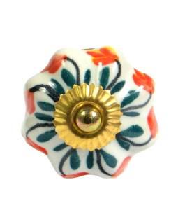 Maľované keramické madlo na šuplík, biele s kvetinou, priemer 4,5 cm