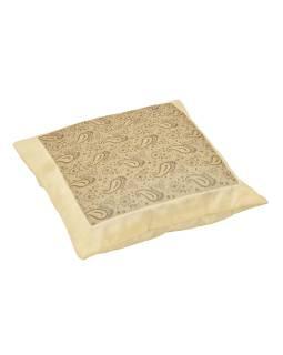 Povlak na vankúš s výšivkou paisley, saténový, šedo-krémový, zips, 40x40cm