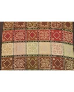 Povlak na vankúš s výšivkou, saténový, hnedý, farebné kocky, zips, 40x40cm