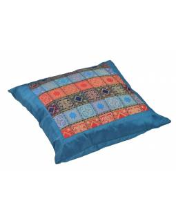 Povlak na vankúš s výšivkou, saténový, modrý, farebné kocky, zips, 40x40cm