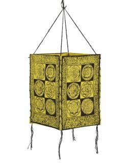 Tienidlo, štvorboké, žlté, zlato-čierny tlač, mandaly, 18x25cm
