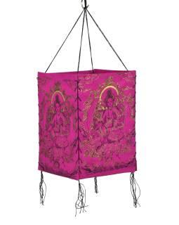 Tienidlo, štvorboké ružové sa zlato-čiernou potlačou Zelené Tary, 18x25cm