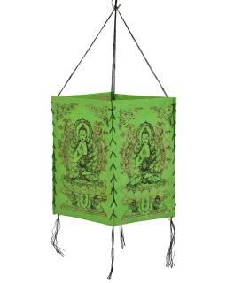 Tienidlo, štvorboké zelené sa zlato-čiernou potlačou Budhu, 18x25cm