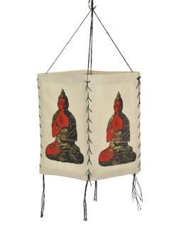 Tienidlo, štvorboké bielo-béžové sa zlato-čierno-červenou potlačou Budhu, 18x25cm
