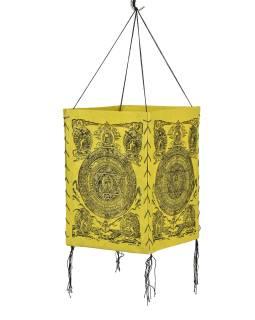 Tienidlo, štvorboké, žlté, zlatá tlač, Mandala, 18x25cm