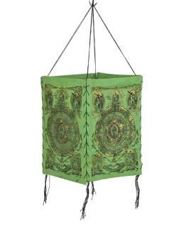 Tienidlo, štvorboké, zelené, zlatá tlač, Mandala, 18x25cm