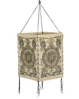 Tienidlo, štvorboké, béžovo-biele, zlatá tlač, Mandala, 18x25cm