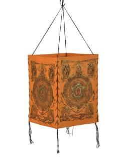 Tienidlo, štvorboké, oranžovej, zlatá tlač, Mandala, 18x25cm
