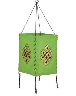 Tienidlo, štvorboké, zelené, zlatá tlač, nekonečný uzol, 18x25cm