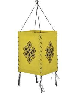 Tienidlo, štvorboké, žltý, zlatá tlač, nekonečný uzol, 18x25cm