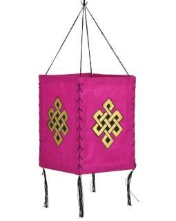 Tienidlo, štvorboké, ružový, zlatá tlač, nekonečný uzol, 18x25cm