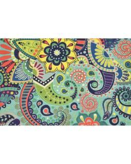 Povlak na vankúš, krémový, farebné vzory, 40x40cm