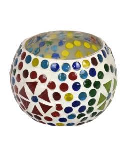 Lampička, sklenená mozaika, guľatá, priemer 9cm, výška 7cm