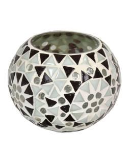 Lampička, sklenená mozaika, guľatá, priemer 10cm, výška 9cm