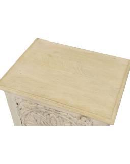 Nočný stolík s vyrezávanými dvierkami z mangového dreva, 50x38x59cm