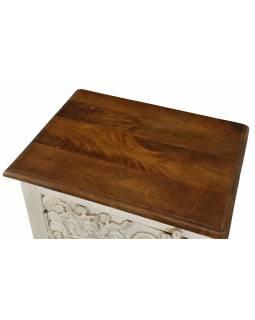 Nočný stolík z mangového dreva, biela patina, 50x38x59cm