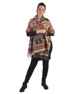 Veľký zimné šál s geometrickým vzorom, tehlová-hnedá, 205x95cm