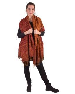 Veľký zimné šál s paisley vzorom a kvetinami, červeno-oranžová, 205x95cm