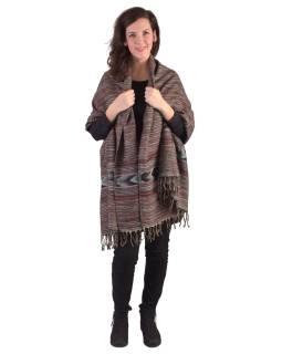 Veľký zimné šál s geometrickým vzorom, šedo-vínová, 205x90cm