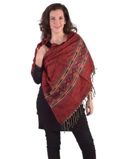Veľký zimné šál s geometrickým vzorom, červená, 205x90cm