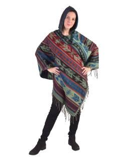 Farebné pončo s kapucňou a strapcami, vzor aztec, zeleno-modré