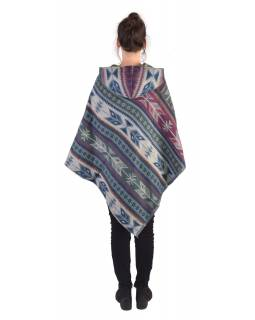Farebné pončo s kapucňou a strapcami, vzor aztec, šedo-fialové