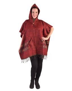 Farebné pončo s kapucňou a strapcami, vzor aztec, červené