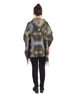Farebné pončo s kapucňou a strapcami, vzor aztec, sivé