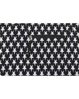 Veľká taška, čierno-biela, hviezdy, 2 malé vnútorné vrecká, zips, 51x39cm + 29cm