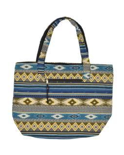 Veľká taška, modro-žltá, Aztec dizajn, 2 malé vnútorné vrecká, zips, 51x39cm + 29cm
