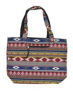 Veľká taška, farebná, Aztec dizajn, 2 malé vnútorné vrecká, zips, 51x39cm + 29cm