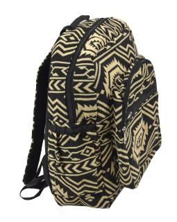 Batoh, čierno-béžový, Aztec dizajn, vrecká, zips, nastaviteľné popruhy, 34x36 cm