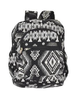 Batoh, čierno-biely, Aztec dizajn, vrecká, zips, nastaviteľné popruhy, 34x36 cm