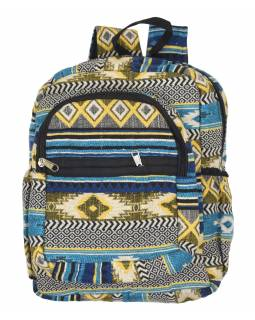 Batoh, modrý, Aztec dizajn, vrecká, zips, nastaviteľné popruhy, 34x36 cm