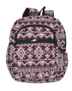 Batoh, vínovo-biely, Aztec dizajn, vrecká, zips, nastaviteľné popruhy, 34x36 cm