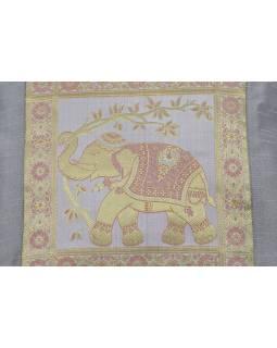 Povlak na vankúš, saténový, so slonom, šedo-strieborný, zlatá výšivka, 40x40cm