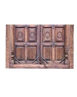Antik dvere s rámom z Gujarati, teakové drevo, 160x14x265cm